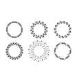 floral wreaths round frames set line art boho vector image