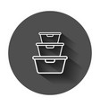 food container icon in flat style kitchen bowl vector image vector image