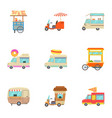 food truck icons set cartoon style vector image vector image