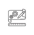 gears on paper prototyping hand drawn outline vector image vector image