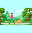 girl walking with dog person walk canine vector image