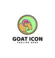 goat flat color logo vector image vector image