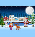 happy christmas day in winter with snowy village b vector image vector image