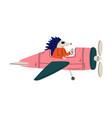 hedgehog pilot flying on retro plane in sky vector image vector image
