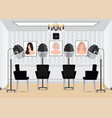 hood hair dryer in beauty salon with poster hair vector image