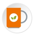 Mug with tea icon flat style vector image vector image
