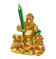 olden statue of Poseidon with emerald spear vector image vector image