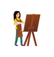 painter woman working at easel vector image