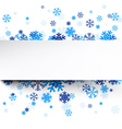 Paper card over blue snowflakes vector image