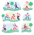 people doing sports flat isolated vector image