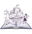 pied piper hamelin open book fairy vector image vector image