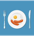 plate with fried egg icon vector image vector image