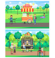 popcorn and pizza shops in green park color banner vector image vector image