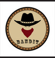 round emblem sheriff head in hat and scarf vector image