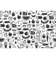 seamless pattern with different food in black vector image vector image
