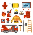 Set Firefighter Fire safety Flat Icons and vector image vector image