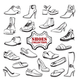 set of shoes vector image vector image