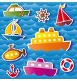 set sea transport stickers vector image vector image