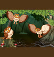 three owls flying in forest vector image vector image