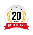 twentieth birthday badge label vector image