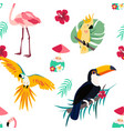 bright pattern with toucan flamingo parrot and vector image