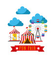 amusement fun fair theme park poster template vector image vector image