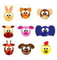 animal emoticons face icons vector image