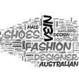 australian designer shoes text word cloud concept vector image vector image