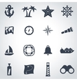 black nautical icon set vector image vector image