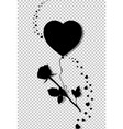 black silhouette of rose flying on heart balloon vector image