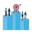 business people standing bar chart target vector image vector image