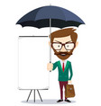 business teacher standing in front of whiteboard vector image vector image