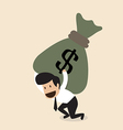 Businessman carry huge money bag vector image
