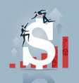 businessman helps to climb a dollar sign to top vector image vector image