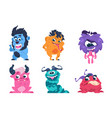 cartoon monsters funny and scary trolls ghosts vector image
