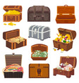 chest treasure box with gold money wealth vector image vector image