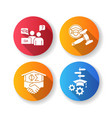 college life flat design long shadow glyph icons vector image