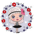 cute cartoon girl and flowers vector image vector image