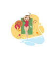 Cute girl sunbathing on sandy beach vector image