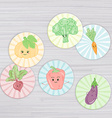 cute vegetables circle for magnets stickers vector image vector image