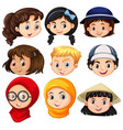 different faces of children vector image vector image