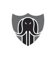 elephant shield defense logo vector image vector image