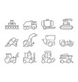 farm vehicles tractor harvester buldozer village vector image