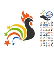 Festival Rooster Icon With 2017 Year Bonus Symbols vector image