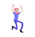 flat successful man in glasses jump smile vector image