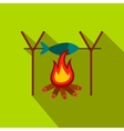 Fresh fish above fire flat icon vector image vector image
