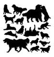 golden retriever dog animal silhouettes vector image