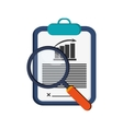 graph chart and magnifying glass icon vector image
