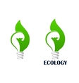 Green energy light bulb with leaf icon vector image vector image
