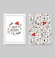 hand drawn winter holidays card xmas decoration vector image